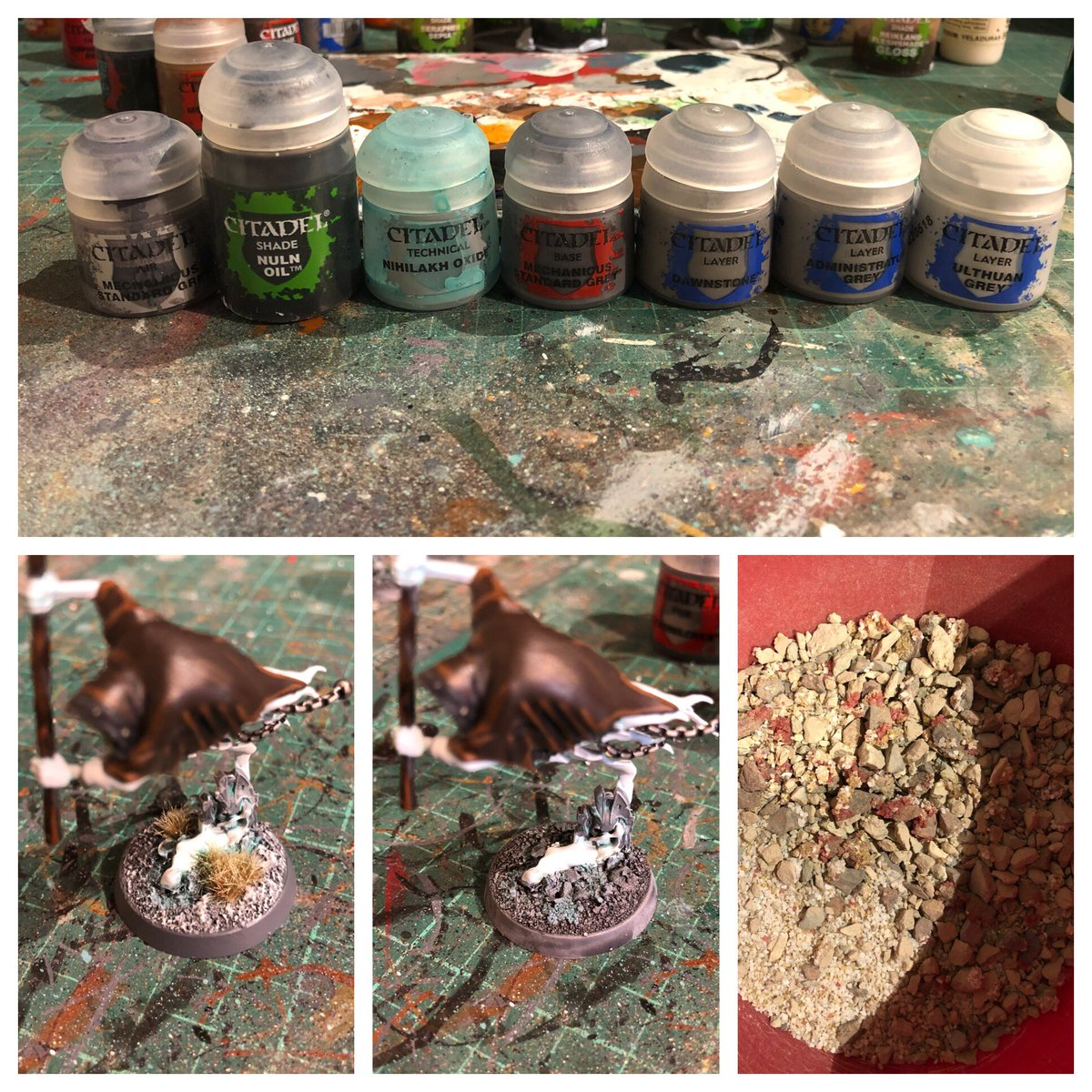 ... Cat Litter Glued In Place With PVA Before Spraying. Base Coat With The  Air Paint, Wash With The Next Two, Dry Brush Up With The Rest.