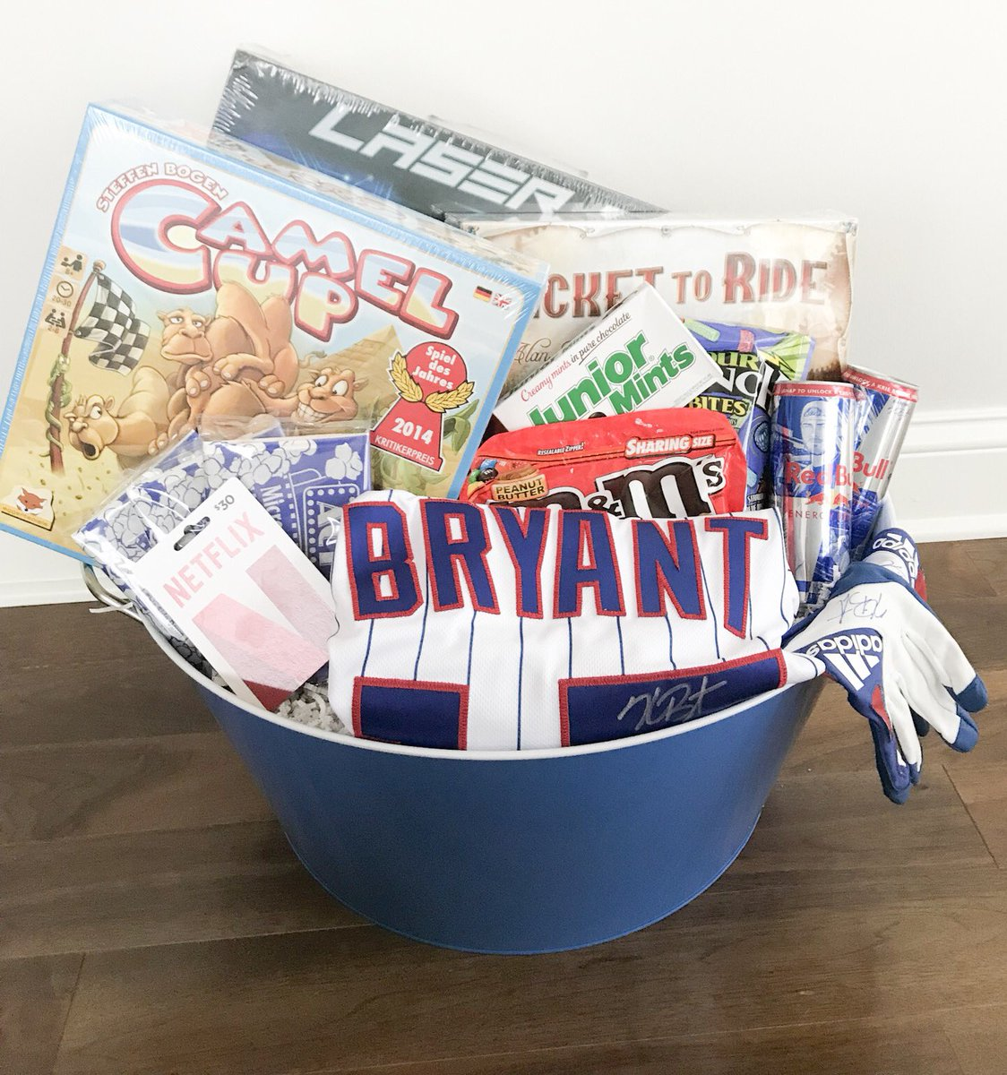 Time for the @Cubs favorite things baskets!! Here's a sneak peak into @KrisBryant_23 game night theme basket I put together! Come say hi, check them all out ...