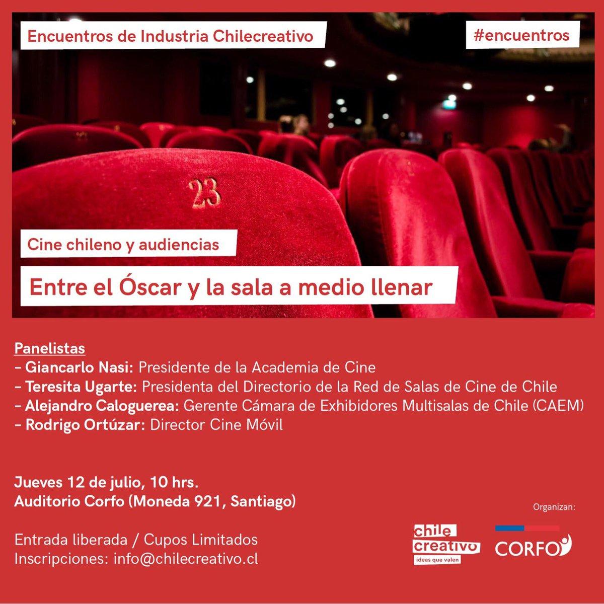 ¡Tenemos un nuevo #encuentro! El próximo jueves 12 la cita es en @Corfo para escuchar y conversar con importantes exponentes de la industria audiovisual chilena. La entrada es gratuita previa inscripción aquí: https://t.co/au1FSNb2Ux #audiovisual #cinechileno https://t.co/H43VlBBEJb