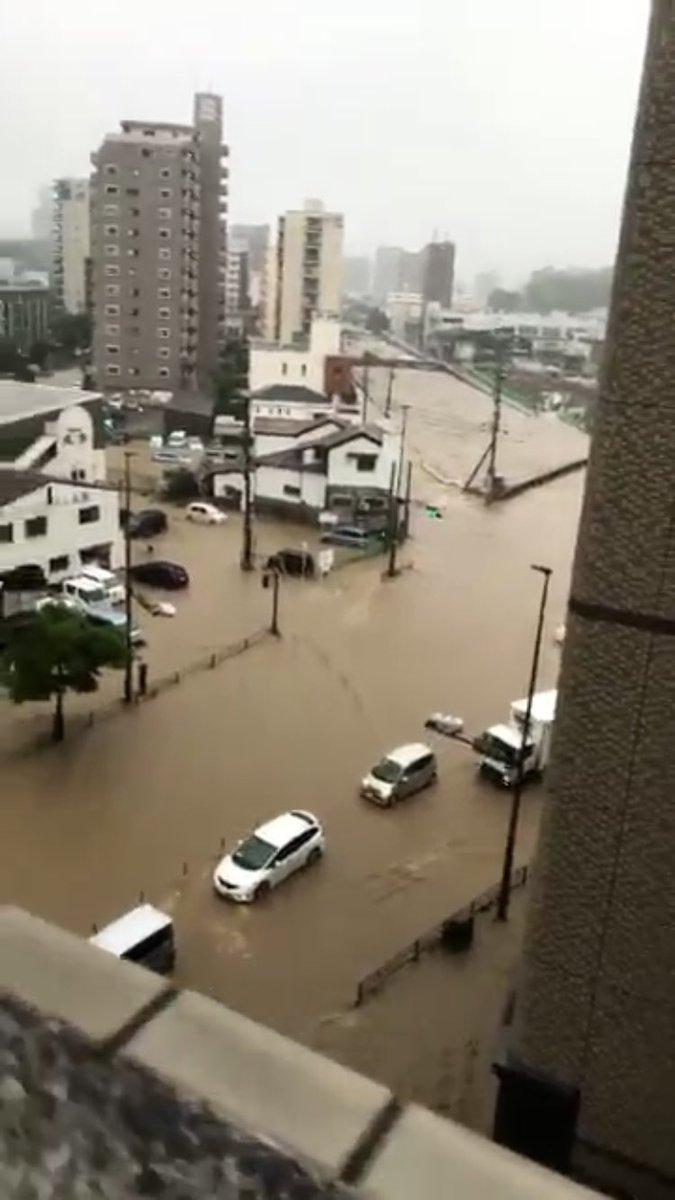 板櫃川が氾濫との情報 北九州市...