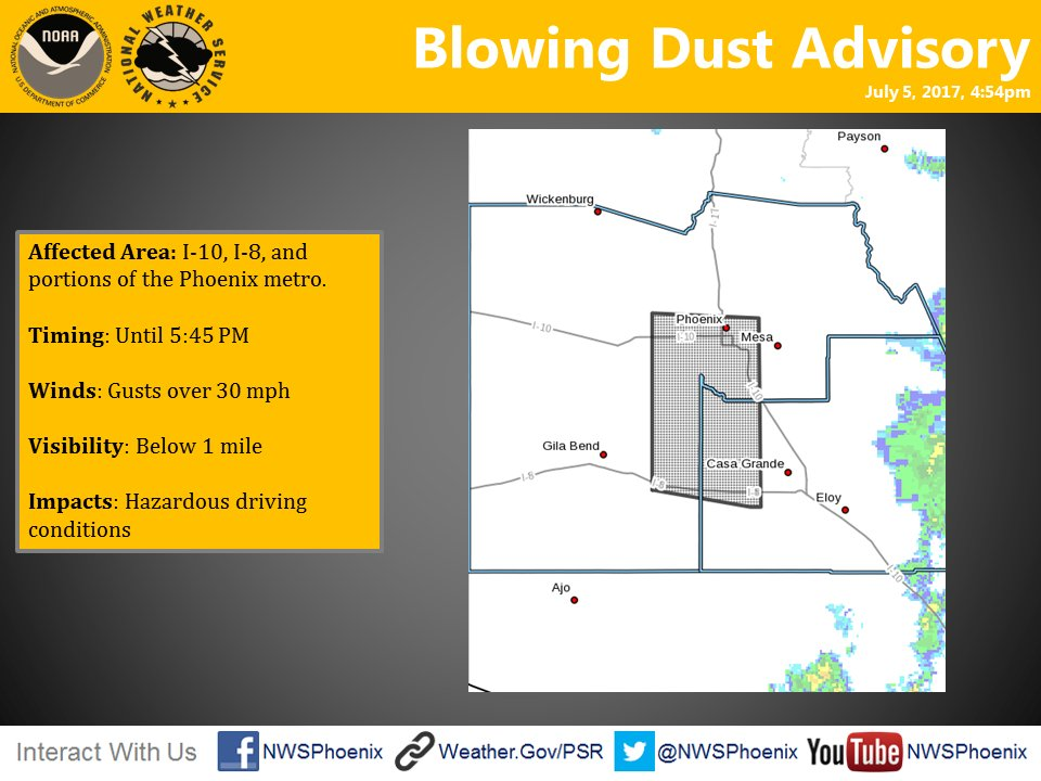 Dust advisory until 5:45 pm this evening.  Please drive carefully.  #azwx #Monsoon2018