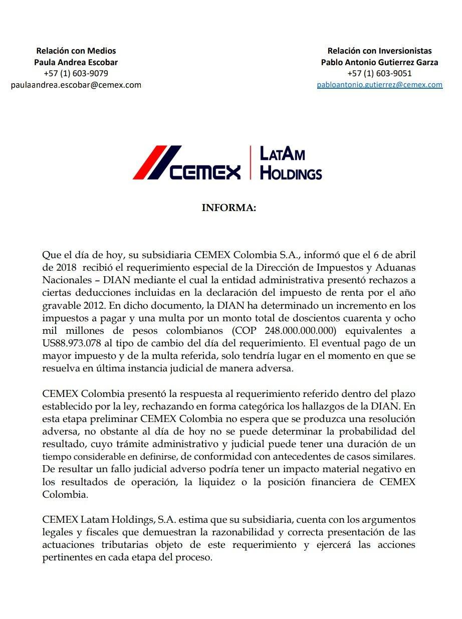 Comunicado Cemex Colombia sobre multa de la DIAN