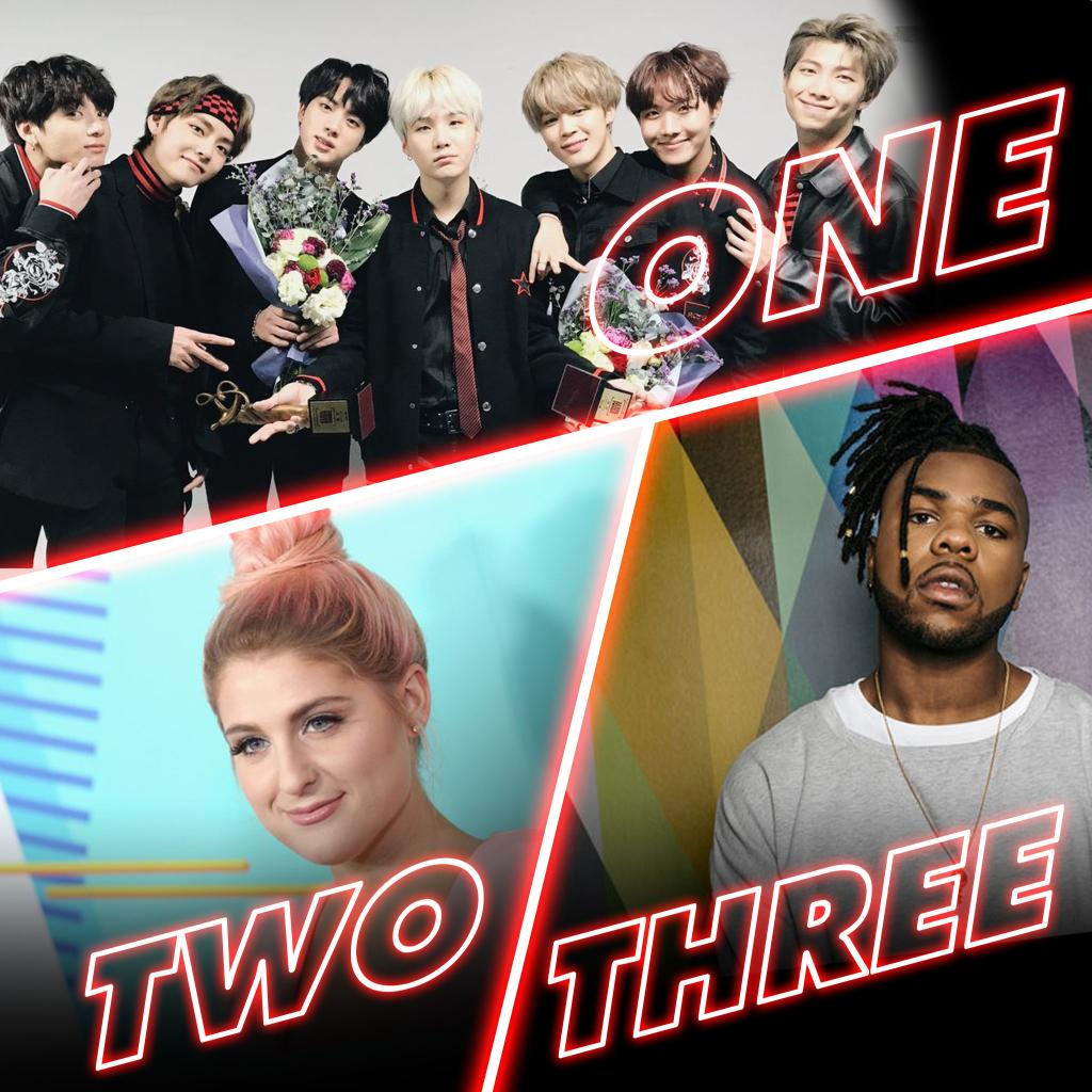 What's your fave from Thursday's #RDTop3? 1. @BTS_twt #FakeLove 2. @Meghan_Trainor #LetYouBeRight 3. @MNEK f. @HaileeSteinfeld #Colour
