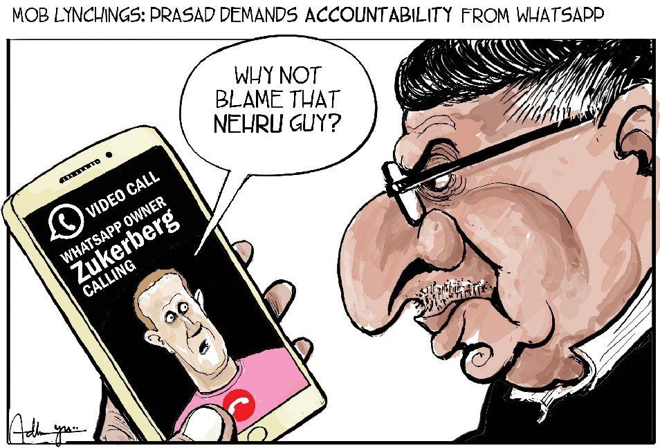 Whatsapp under fire in India : editorialcartoons