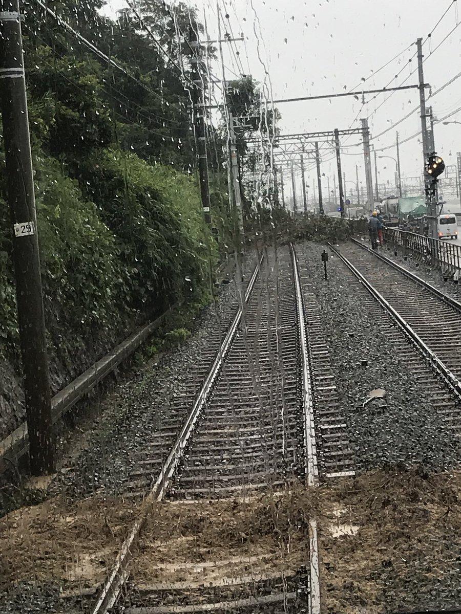 山陽電鉄で土砂崩れが起き線路を塞いでいる現場の画像