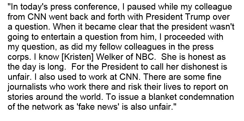Here is the statement from Fox News's John Roberts, who was selected by Trump to ask a question after CNN's Jim Acosta was dissed.