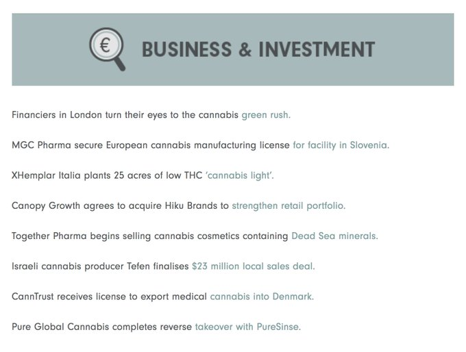 In this week's European Cannabis Weekly: International investors flock to London as the UK comes closer to legalising medical cannabis, CannTrust's Danish distributor receives first licence to distribute cannabis oil. Read it here: Foto