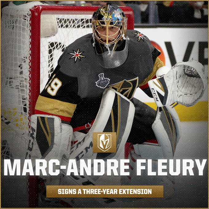 🌸 Three more years of Marc-Andre Fleury with the @GoldenKnights! 🌸 Details: Photo