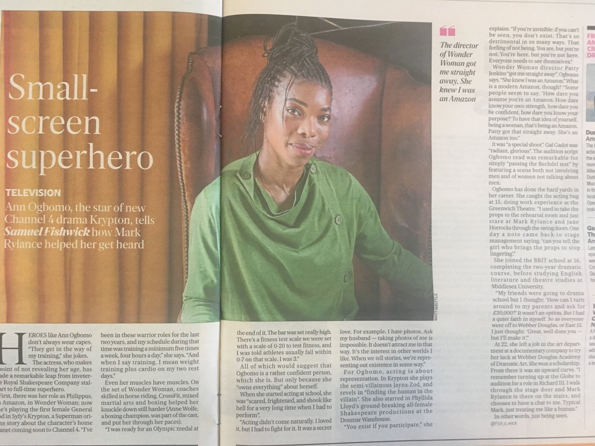 Pick up today's copy of the @EveningStandard and turn to page 42 to read all about our WONDERFUL @annogbomo, her time working on #WonderWoman and #Krypton and how powerful she feels as a woman working in the film industry.