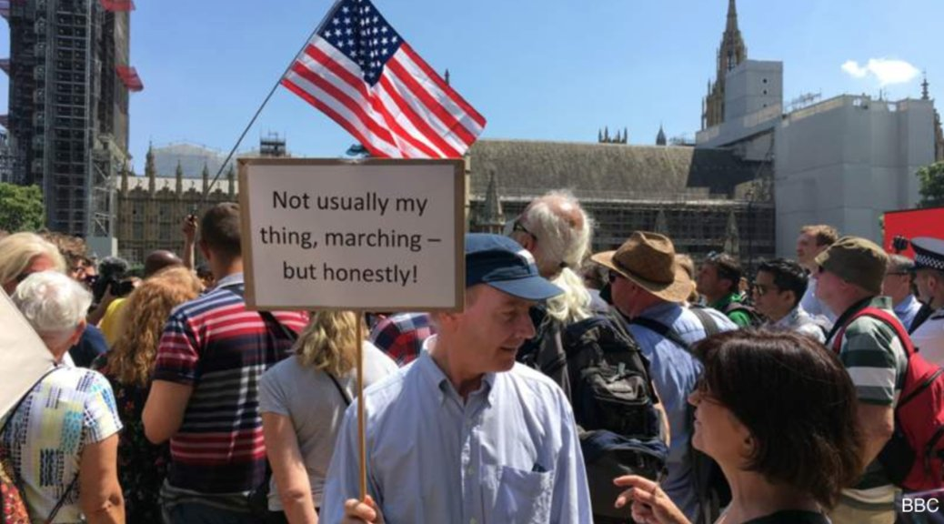 A very British protest sign #TrumpUKVisit #TrumpProtest