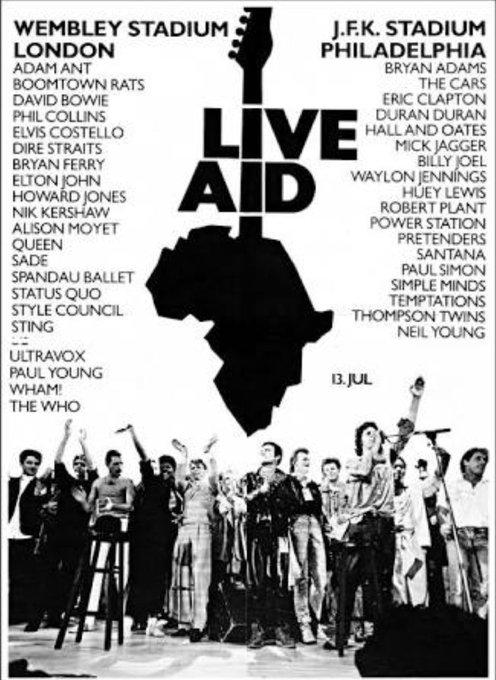 #DiaMundialDelRock El motivo principal de la elección de esta fecha fue conmemorar la realización del mega concierto de rock Live Aid celebrado en 1985, con el fin de recaudar fondos a beneficio de Somalia y Etiopía que atravesaban por una grave crisis de hambruna. 🤘 Foto