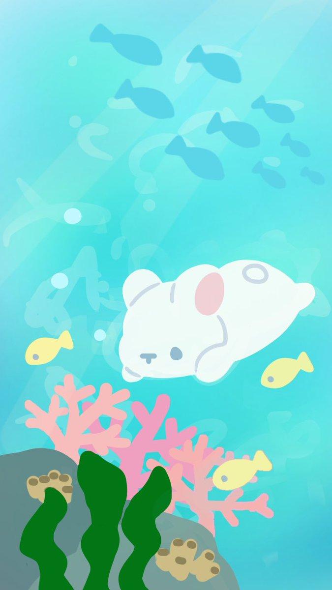 くぅもんせ 暑くなってきましたね 夏なので海のイラスト描いてみました よかったら壁紙などに 海 夏 壁紙 うさぎ イラスト