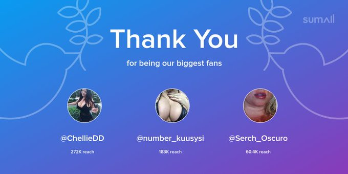 Our biggest fans this week: @ChellieDD, @number_kuusysi, @Serch_Oscuro. Thank you! via https://t.co/Zrh88qn47t