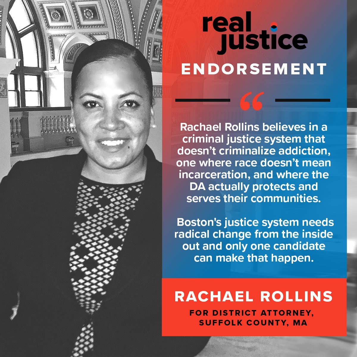 107 of us have now donated $5,000 to help make Rachael Rollins the next DA of Boston, but it's going to take about 3,000 of us giving $200,000 to give her campaign the funding it needs to win!  CHIP IN HERE: https://t.co/sfOec1LAPJ  Let's change the system from the inside out.