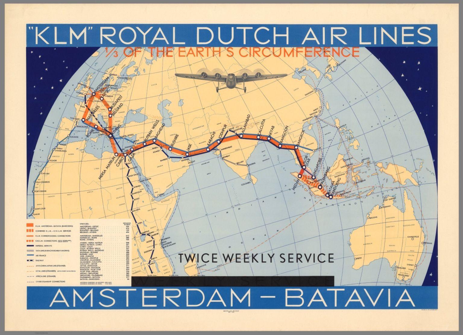 mapa linky Amsterdam-Batavia(Jakarta)