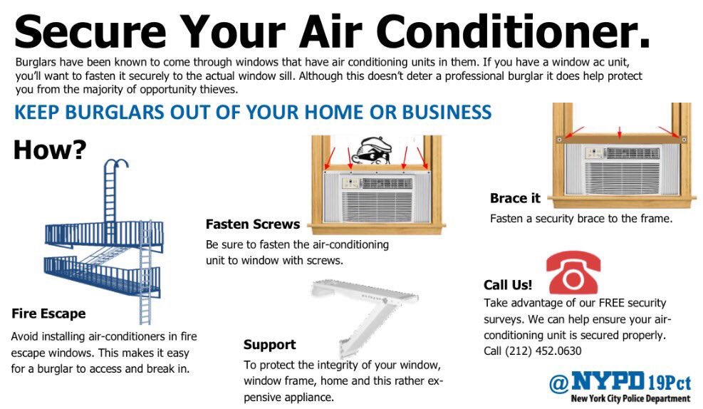 window air conditioner security window installation 726 am 13 jul 2018 from upper east side manhattan nypd 19th precinct on twitter