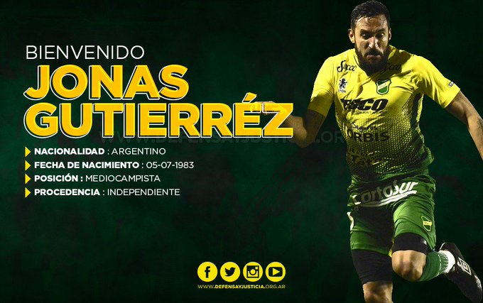 OFICIAL: 🇦🇷 Jonás Gutiérrez (🇦🇷 Independiente), es nuevo jugador de 🇦🇷 @ClubDefensayJus. Firma por 1 temporada. @elgalgojonas VUELVE AL HALCÓN DE VARELA. 📝✍ #FichajesFG. Foto