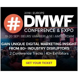 Secure 20% off your ticket for digital #marketing event #DMWF Expo Europe - Digital Marketing World Forum Amsterdam/@DigiMarketingWF  http:// bit.ly/2Fmo5LV  &nbsp;   #SMPDiscounts<br>http://pic.twitter.com/F5jH0EfiOy
