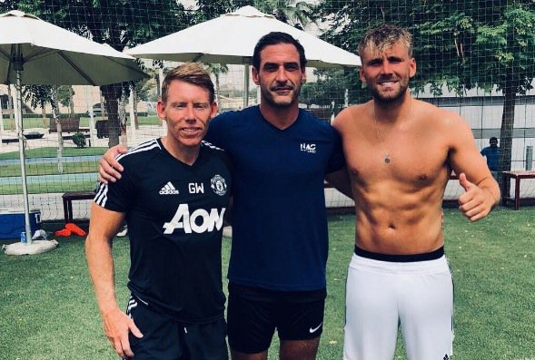 Luke Shaw showing off his 6 pack. Post fitness test.