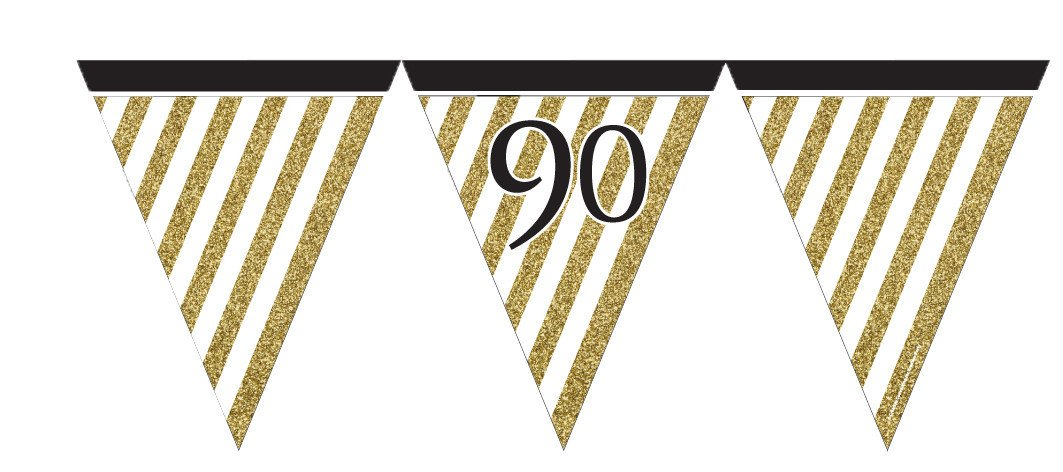 12ft Black Gold Stripe Age 90 90th Birthday Paper Flag Bunting Banner Party Decorations 80th 40th 70th Balloons Birthdayparty