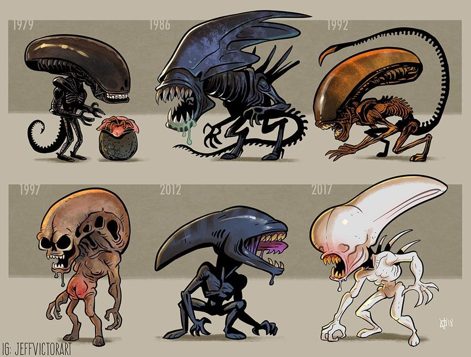 Xenomorph Evolution by @jeffvictorart! #FanArtFriday #ALIEN