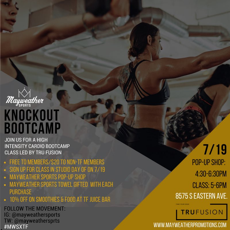 test Twitter Media - .@mayweathersprts X @TruFusion teamed up to bring you Mayweather Sports Knockout Bootcamp! A high intensity cardio class where your body will be pushed to the limit! Join the movement! https://t.co/m62XWFMh20 #GetFitNow #KnockoutBootcamp https://t.co/uNS1asGYnc