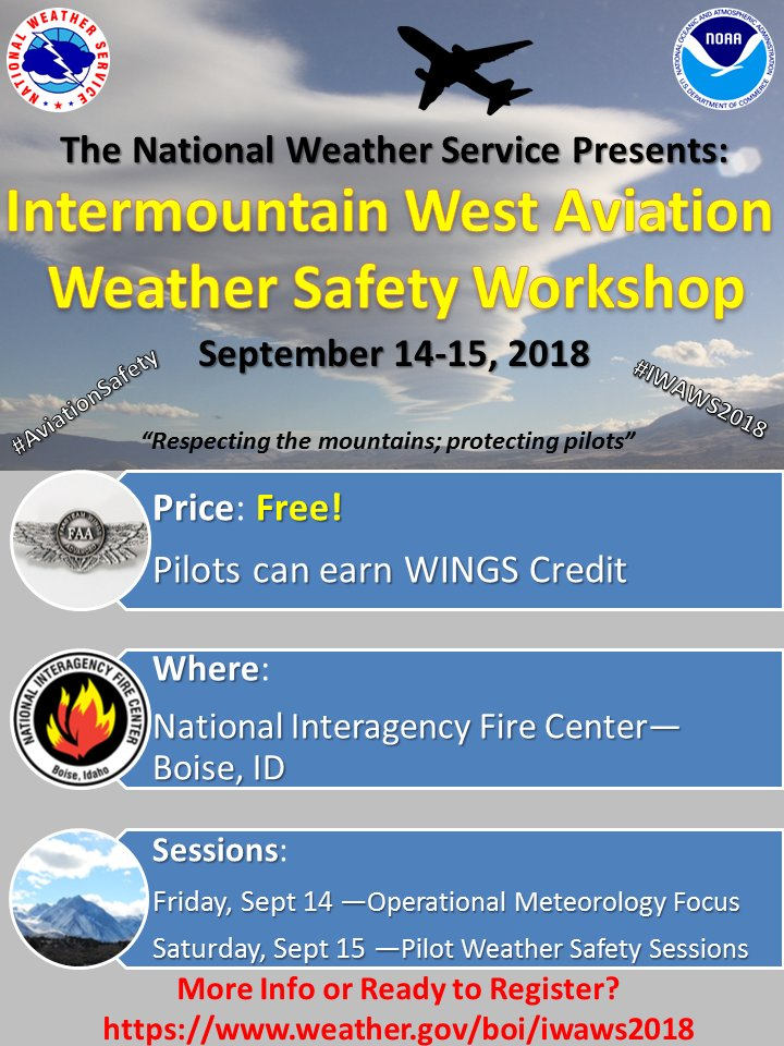 Nws boise on twitter iwaws2018 is designed to strengthen communities to support the national airspace system nas this free workshop will be sept 14 15 in boise check out httpweatherboiiwaws2018 publicscrutiny Choice Image