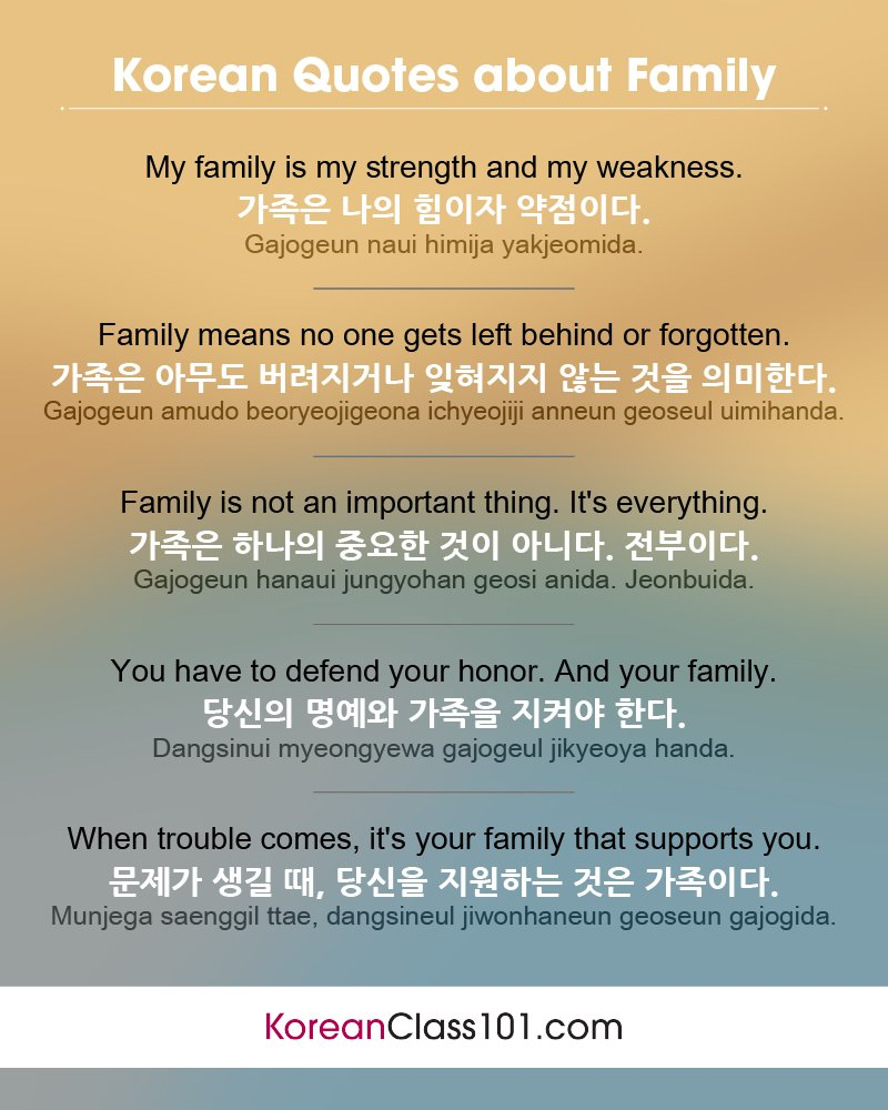 Koreanclass101 On Twitter Korean Quotes About Family Get The