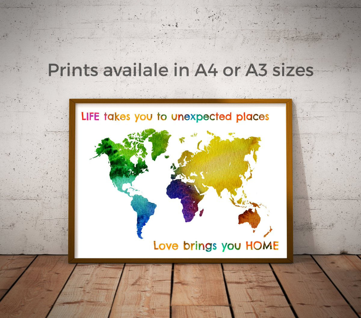 Worldmapwatercolor hashtag on twitter world map poster world map wall art world map print travel map colourful vibrant rainbow colours a4 or a3 size homedecor housewarming gumiabroncs Gallery