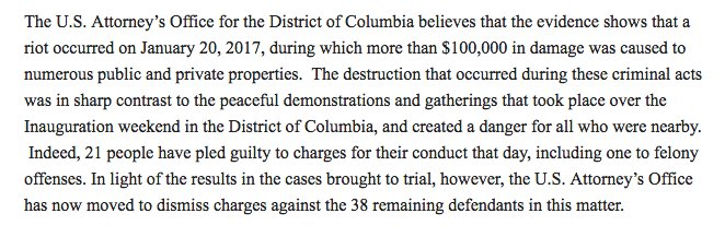 BREAKING: The US attorney's office in DC is dismissing all remaining Inauguration Day mass arrest cases. The government had been unable to secure any convictions at trial so far; there were 38 cases left. Filing:  Statement from the US attorney's office: