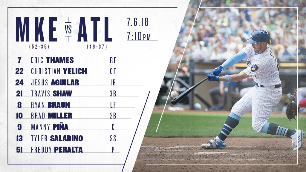 Here's the #Brewers lineup for the final night game at Miller Park before the All Star break. #ThisIsMyCrew https://t.co/zX9HBAaS0K
