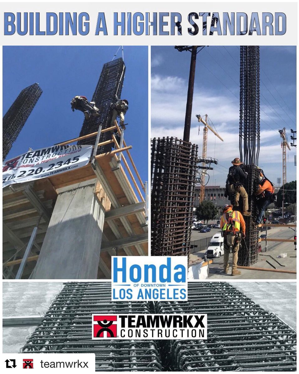 TEAMWRKX Performs The Installation Of The Moment Column Reinforcing To  Support The 4th Floor And 3rd Elevated Deck At The New Honda Of Downtown  Los Angeles.