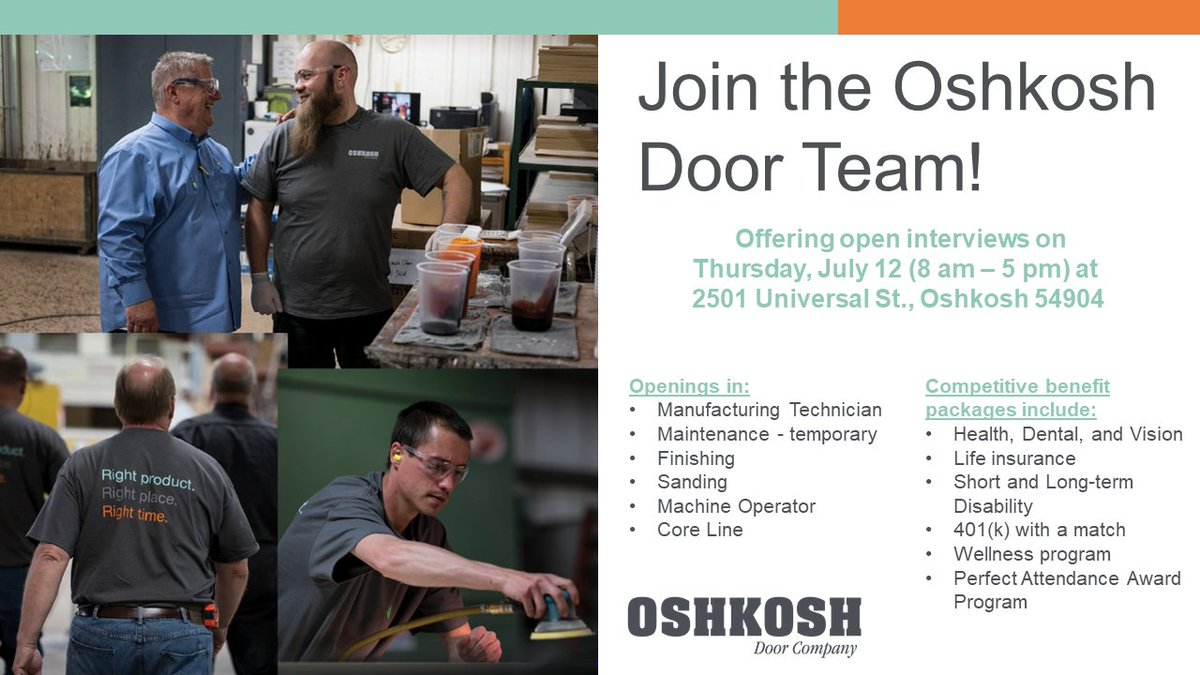 Wages starting at $12/hour for entry level positions and referral bonuses for Oshkosh Door employees. Come by July 12th to see what we are all ...  sc 1 st  Twitter & Oshkosh Door Company (@oshkoshdoor) | Twitter