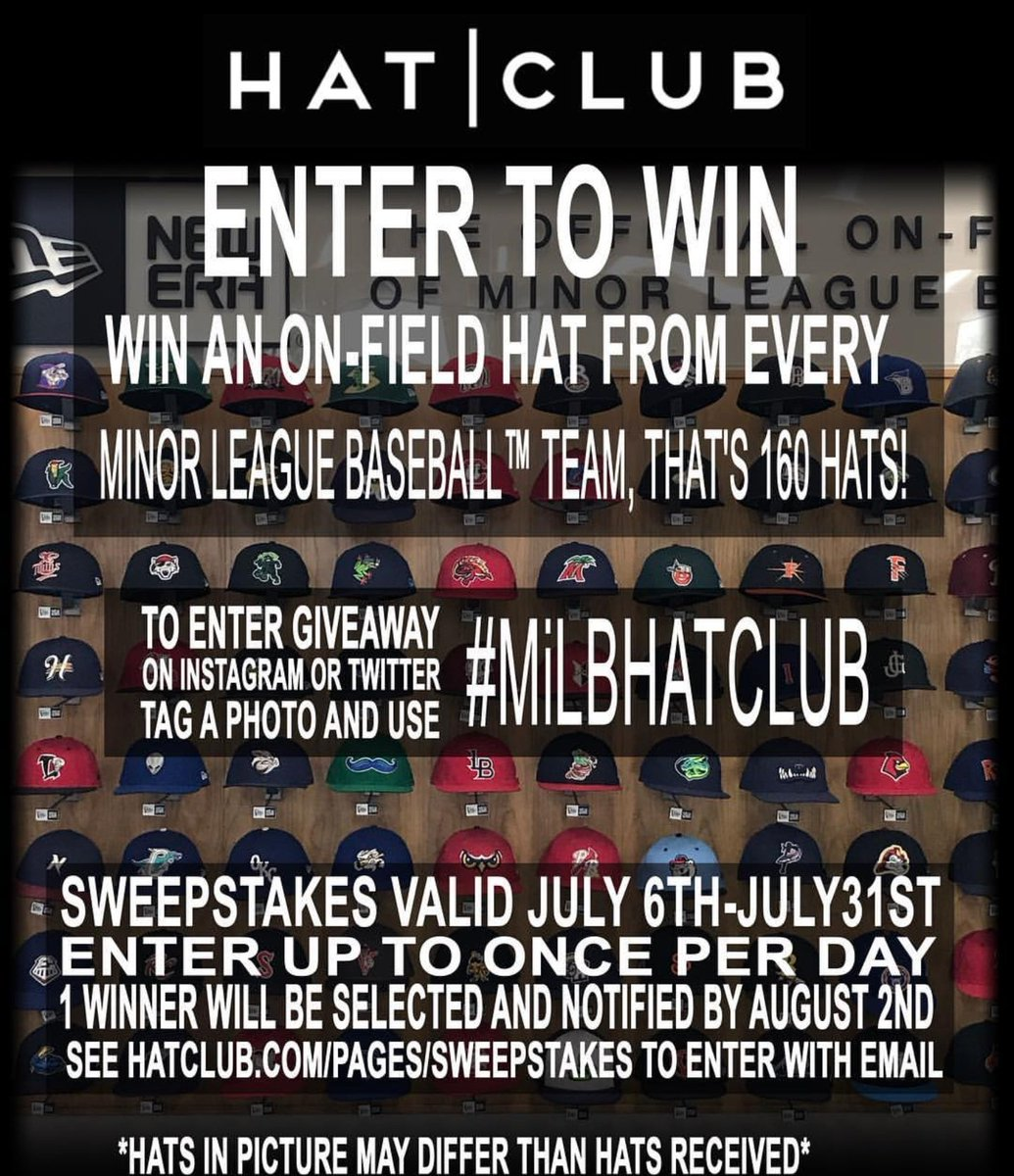 3be76d8d5ac2f ... use the hashtag  MiLBHATCLUB on Twitter   Instagram and you ll be  entered to win ALL 160 Minor League Baseball team hats.pic.twitter .com iI3lrALJTE