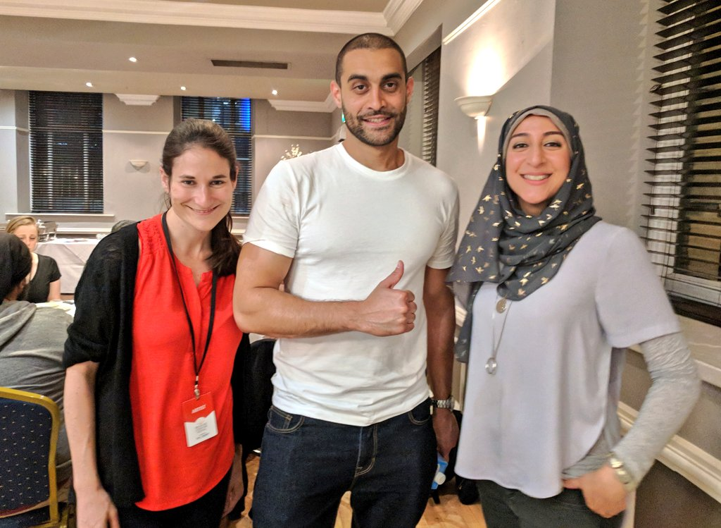 Hanging out with the inspiring and brilliant Lowkey post-gig with @Joanna_Hoffman @BradfordLitFest #bradfordlitfest