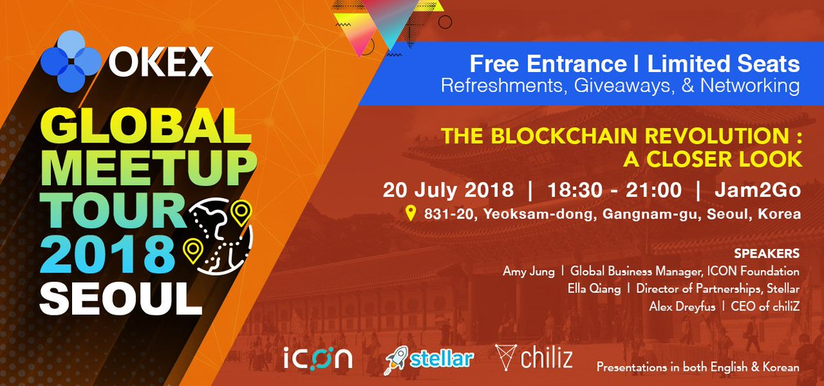 Come join us in Seoul and meet the rest of the @OKEx_ team!  Our @AndyC0125 will be there, as well as excellent speakers @ellaqiang9 @alex_dreyfus!   @StellarOrg @helloiconworld @chiliZ