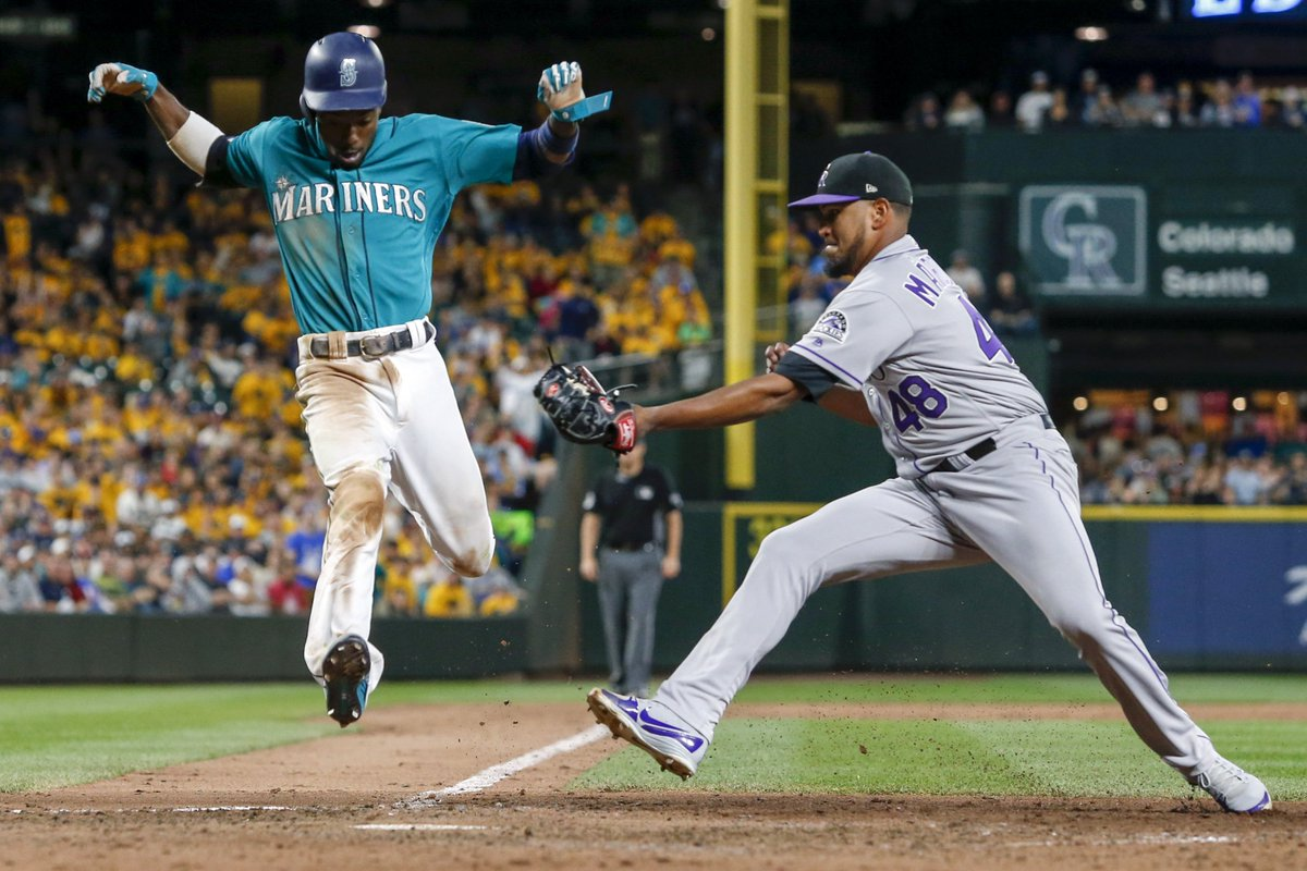 FINAL:  Mariners drop the opener to Colorado, 7-1.  Dee Gordon left the game with a sore back on this play at the plate. 👇👇👇 pic by: Joe Nicholson-USA TODAY Sports