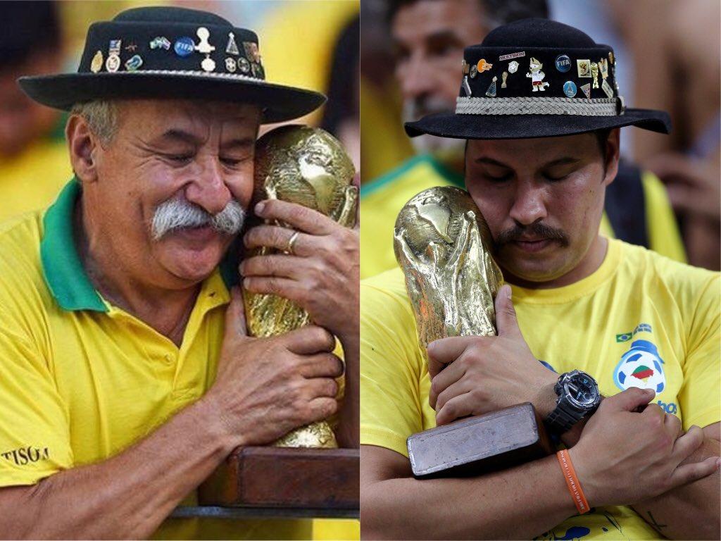 Кловис Акоста Фернандес - болельщик сборной Бразилии с кубком ЧМ и его сын