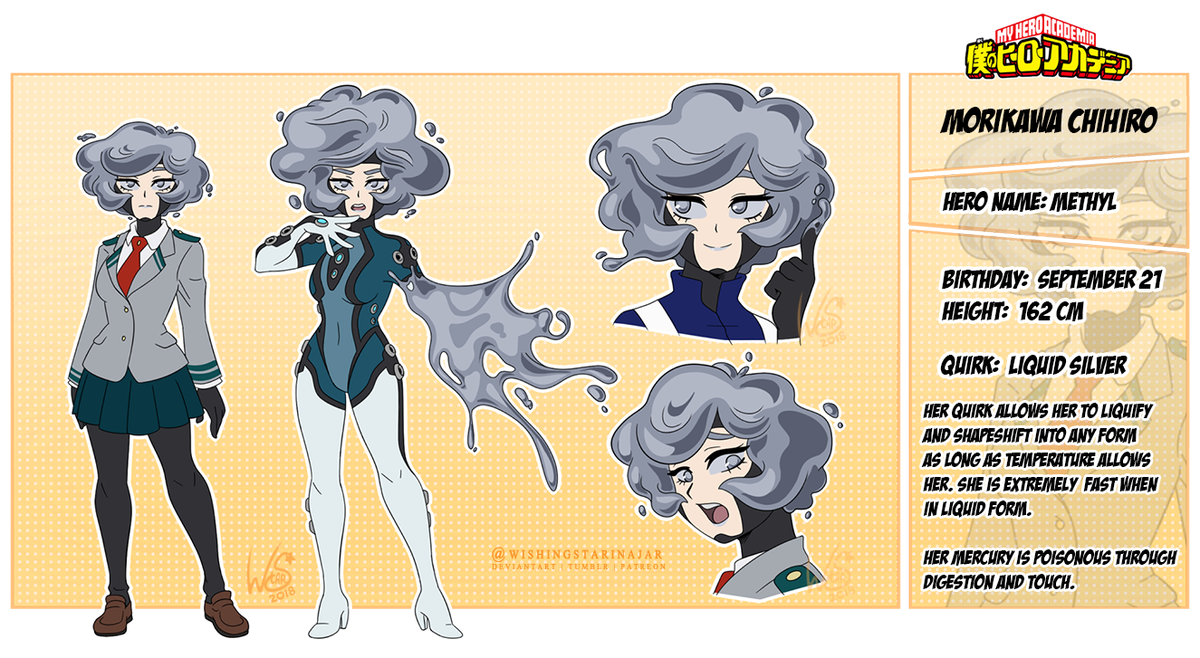Wishingstarinajar On Twitter My Boku No Hero Academia My Hero Academia Oc Chihiro Aka Methyl Her Quirk Is Mercury Based For More Info On Her Quirk Please Check Out The Link