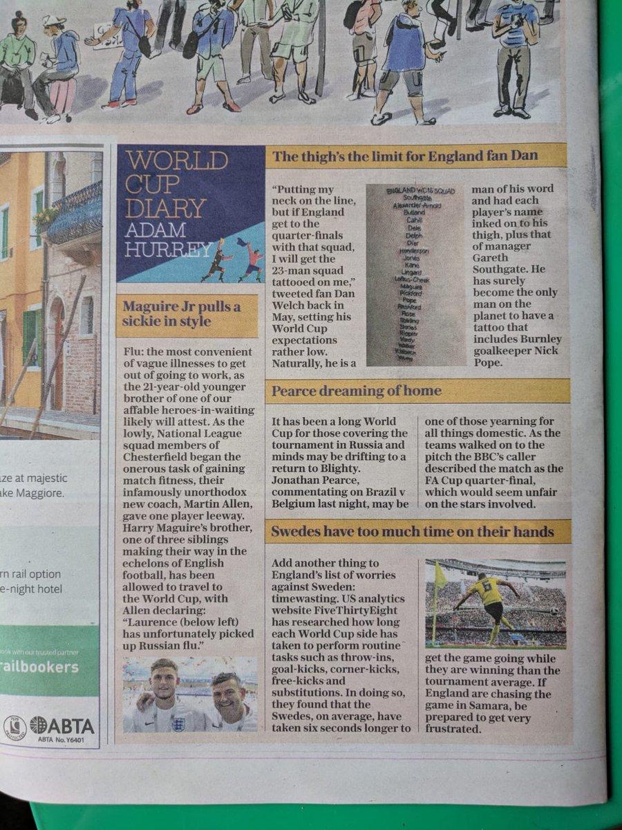 Back page of today's @TelegraphSport. Bravo 👏🏼👏🏼👏🏼. #footballscominghome