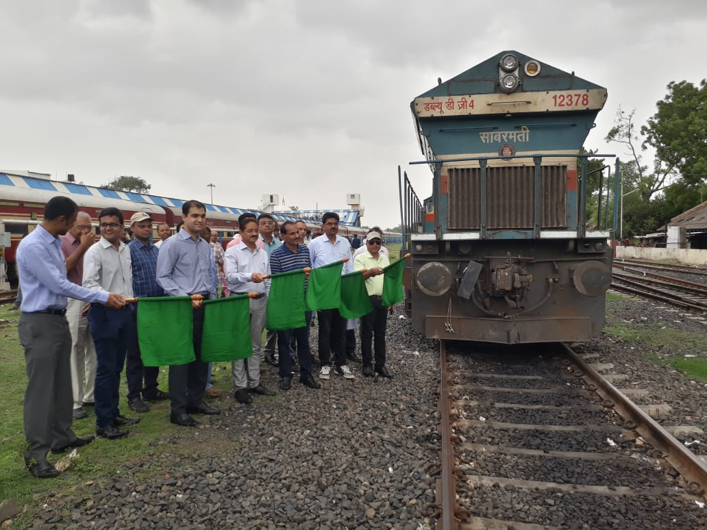 India's first double stacked dwarf container train flagged off from Kanalus private rail siding of RIL