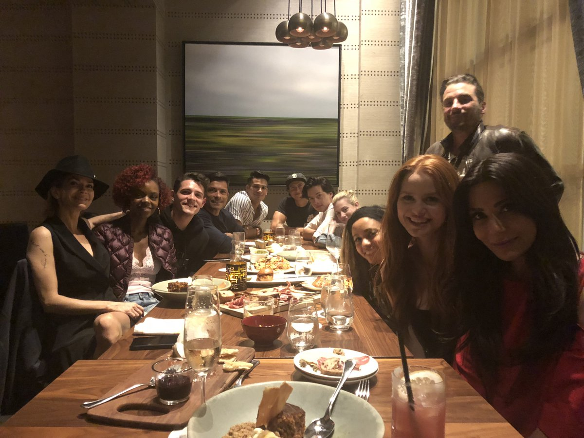 Dinner with the gang after the first table read of Season 3 of #Riverdale!