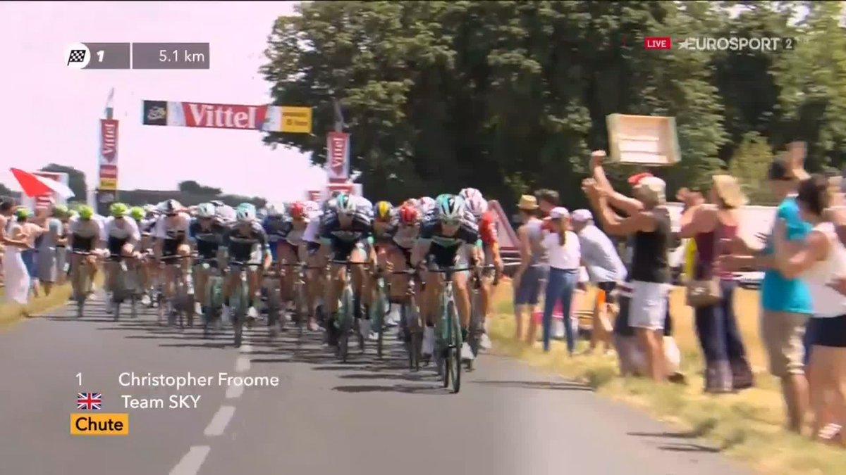 Tour de France 2018 | Valpartij Chris Froome in etappe 1