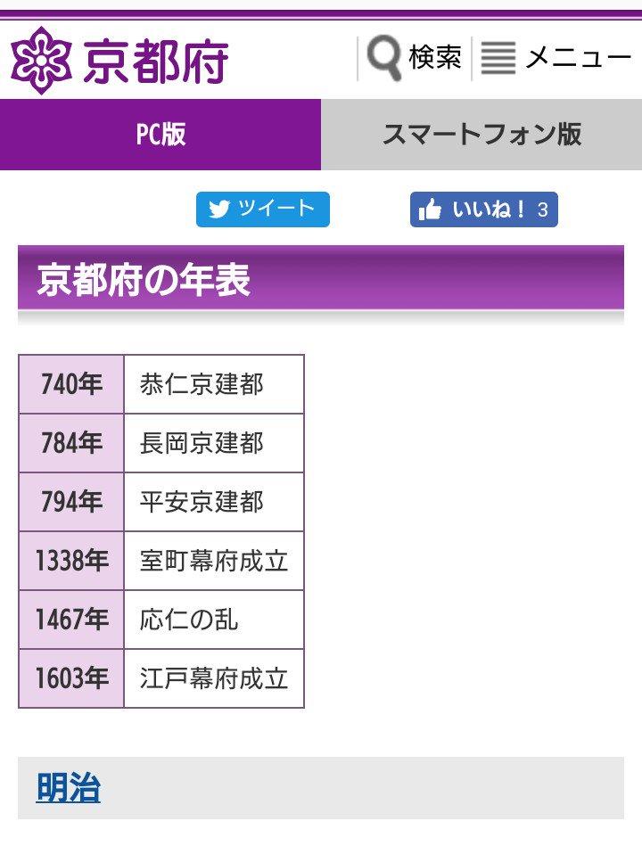 京都府HPに掲載されている府の歴史の年表が乱暴過ぎる。