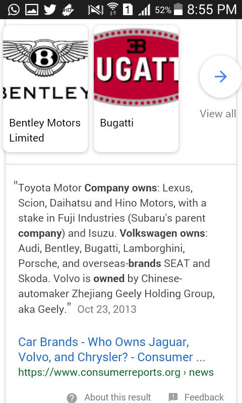 What The F Facts On Twitter Volkswagen Owns Bentley Bugatti - Who owns audi