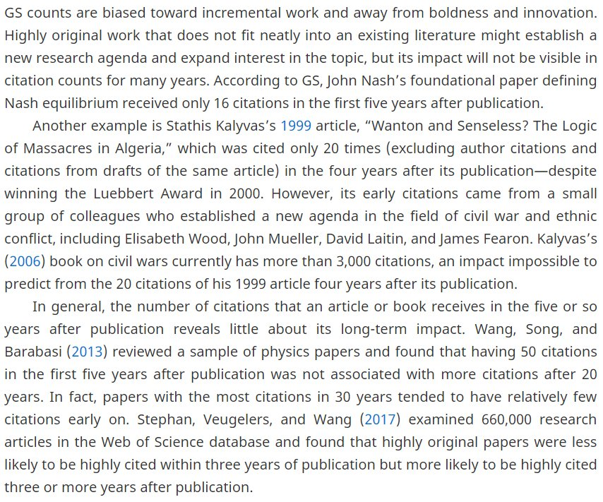 The dangers of metrics: citation counts 3-5 years after publication fail to predict / negatively predict long-term research impact. cambridge.org/core/journals/… The article talks about Google Scholar but the problem is not the tool—its the idea of counting citations. HT @feamster.