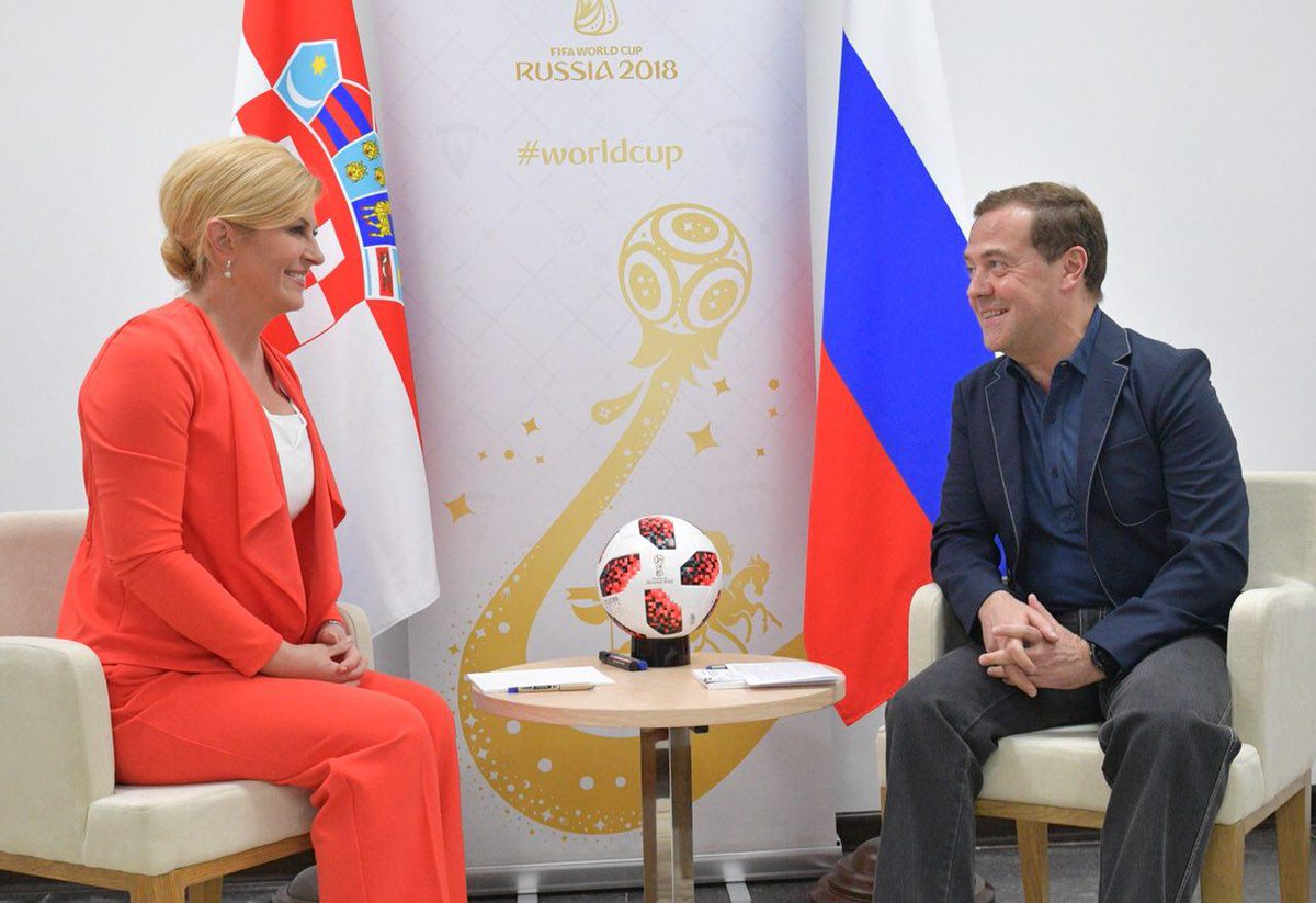 Dmitry Medvedev met with President of Croatia Kolinda Grabar-Kitarovic prior to the #Russia vs. #Croatia match