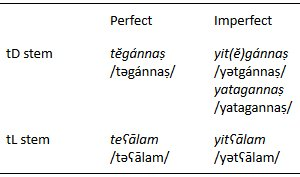 arabic inflection and perfect imperfect For example, after pointing out that the two morphological tenses of arabic are often referred to as the 'perfect' and the 'imperfect' tenses, she prefers, for the sake of clarity, to use the terms 'past' and 'present' at the same time, she often includes '(imperfect)' after 'present' and '(perfect)' after 'past.