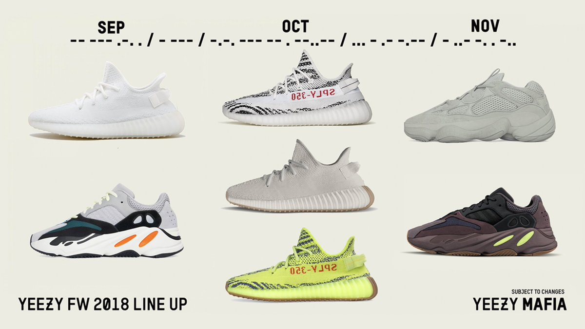 db69ed07cb722 theyeezymafia s updated Fall Winter 2018 Yeezy rumored release calendar   September — Cream White 350 V2 — Wave Runner 700 October — Zebra 350 V2 —  Sesame ...