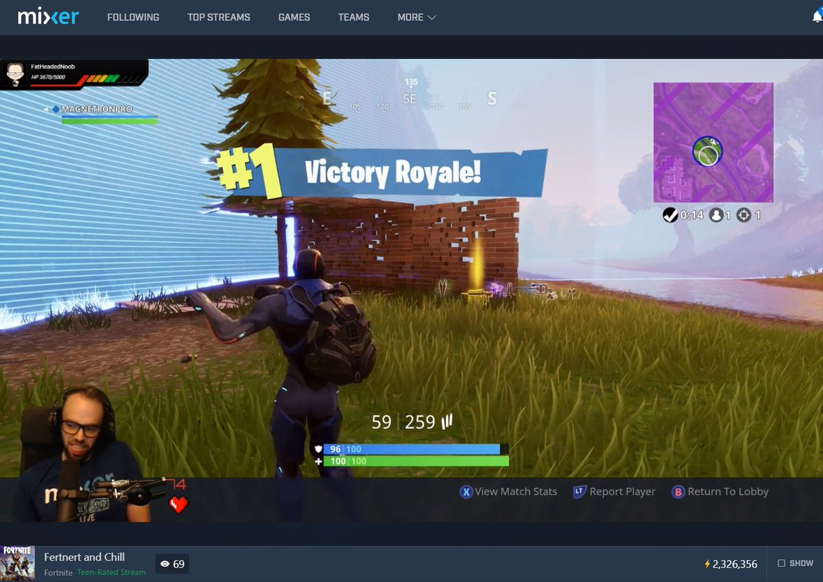 Looks like someone is getting the hang of #Xbox #MixerSolos @FortniteGame!  Nice #VictoryRoyale and dance, @MAGNETRONPRO!  #MixerClips provided by @WatchMixer: https://mixer.com/MAGNETRON?clip=QnlVUyjNkUOaFrY26xF57g …